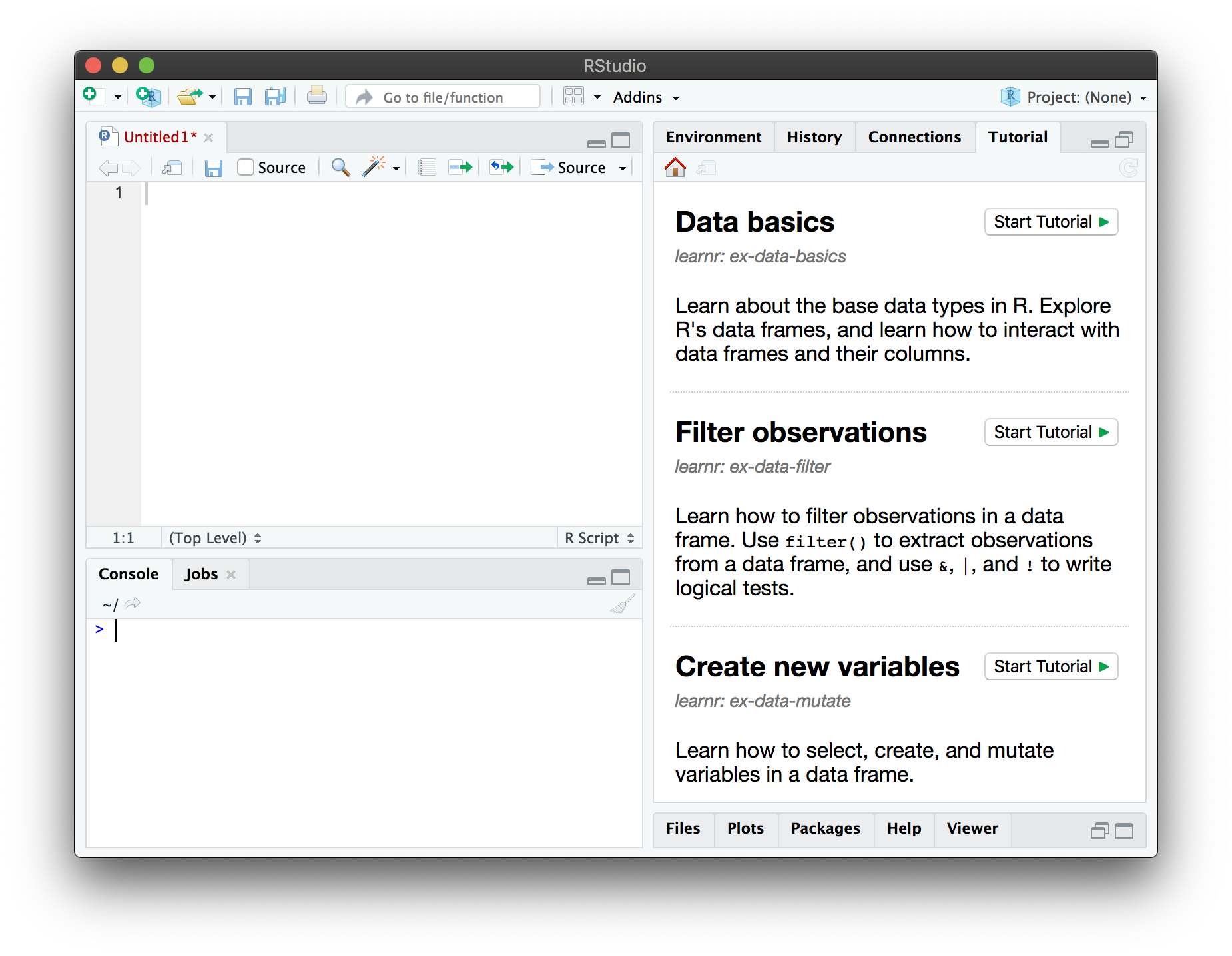 The RStudio IDE, with the Tutorial pane showing a list of available tutorials.