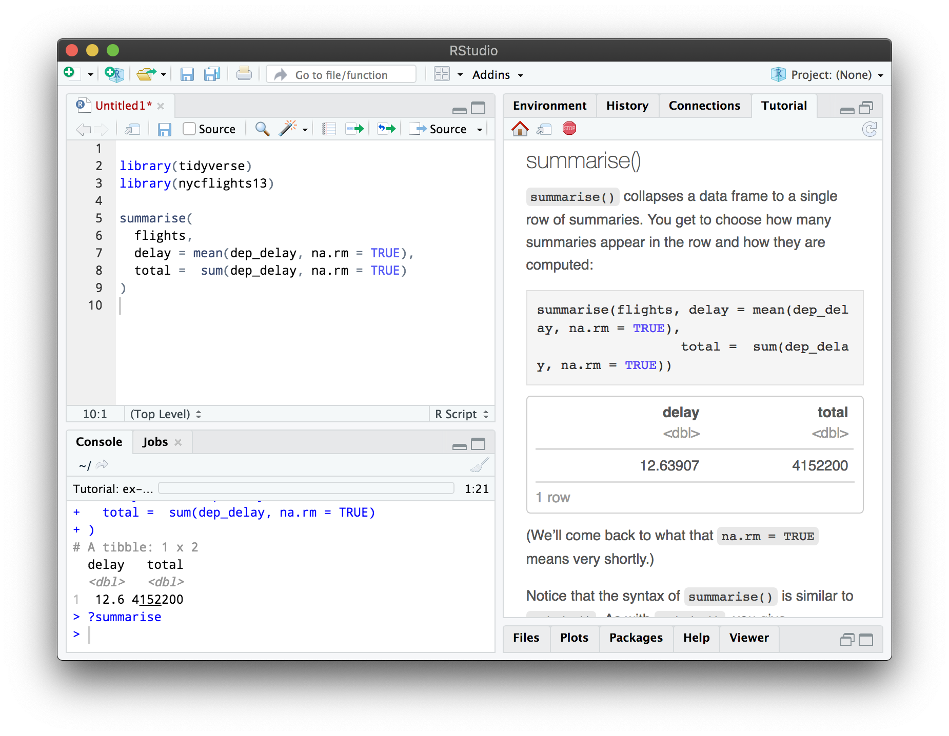 The RStudio IDE, with a tutorial running in the Tutorial pane.