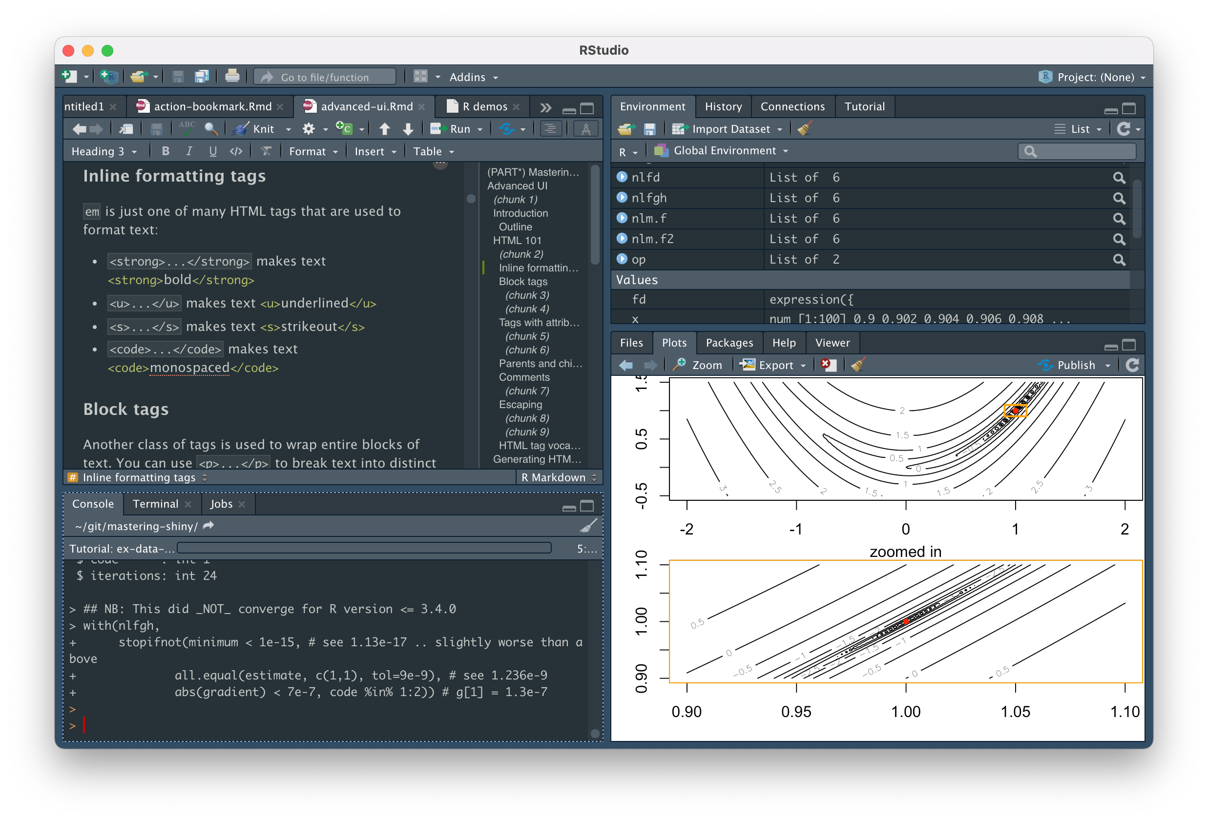 The RStudio IDE with the Console tab outlined