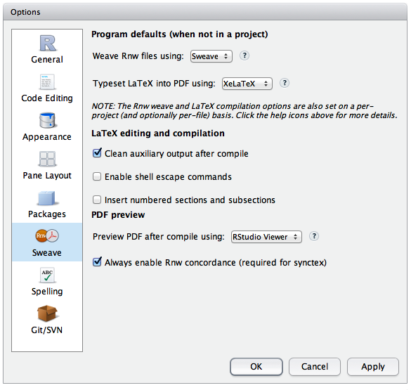 Customizing LaTeX Options – RStudio Support