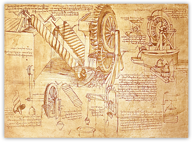 Leonardo da Vinci was a prolific user of notebooks, creating thousands of pages that are still around today. This page from the Codex Atlanticus shows notes and images about water wheels and Archimedean Screws.