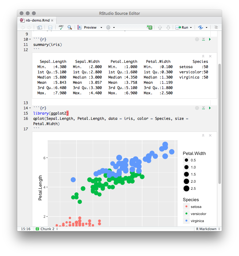 R Notebooks are a method of Literate Programming that allows for direct interaction with R while producing a reproducible document with publication-quality output.